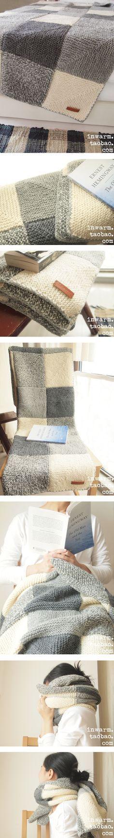 .manta de tricot aos quadrados cinzentos