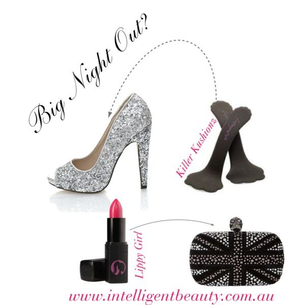 """Big Night Out?"" Don't forget the essentials! Killer Kushionz and Lippy Girl available at Intelligent Beauty (www.intelligentbeauty.com.au). Shoes by Peep Toe. Bag by Alexander McQueen. Style set by intelligentbeauty-australia on Polyvore."