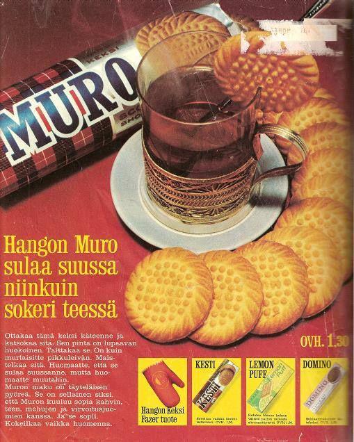 Muro-keksit 60-/70-luvun lehtimainoksessa. Alempana kaupoista jo kadonneet Kesti ja Lemon Puff.