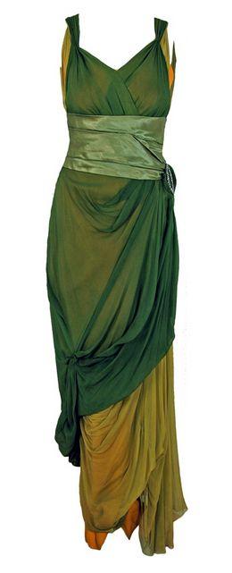 1910's Sage-Green & Golden Silk Chiffon Asymmetric Draped Gown.
