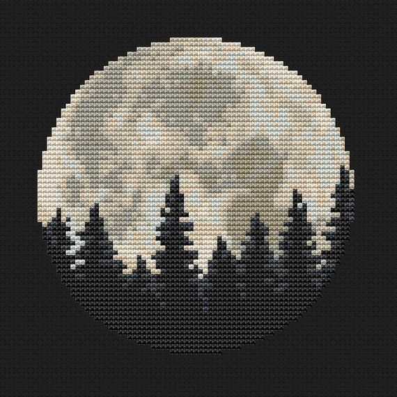 Moon Cross Stitch Pattern Modern Cross Stitch Forest Cross Stitch Forest Embroidery Celestial Cros