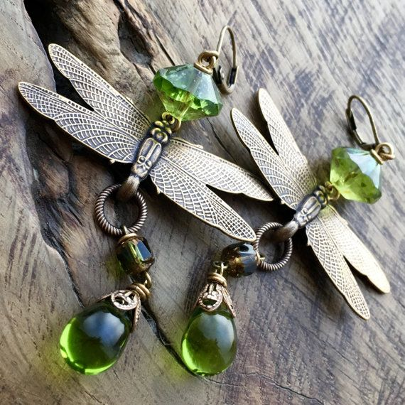 Art Nouveau Dragonfly earrings olive green by lecoupdegrace