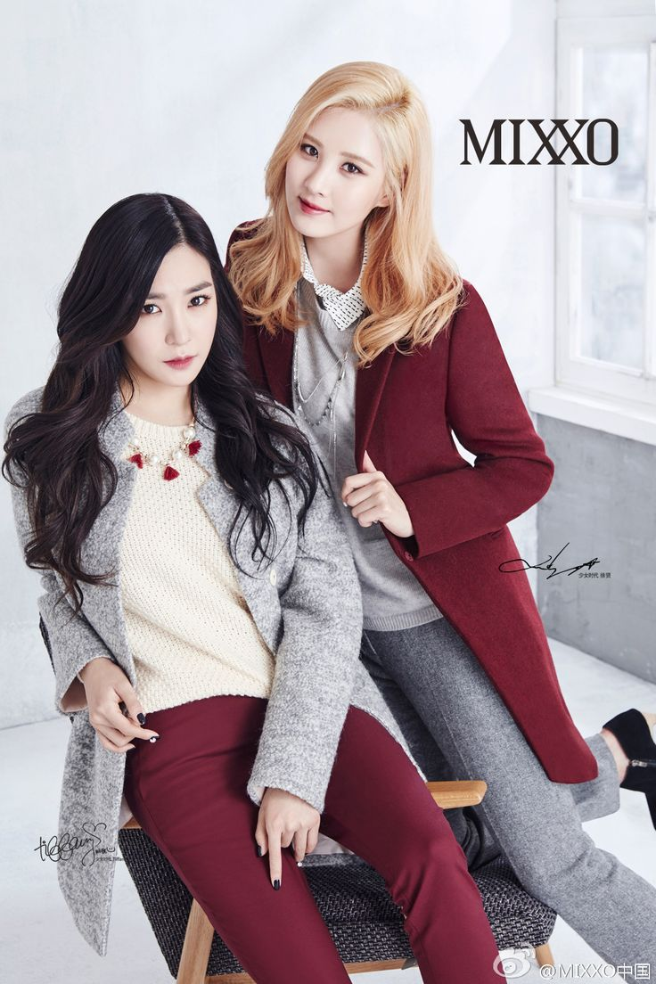 SNSD's Tiffany and Seohyun looking preppy in burgundy and grey in Mixxo photoshoot. #Kfashion