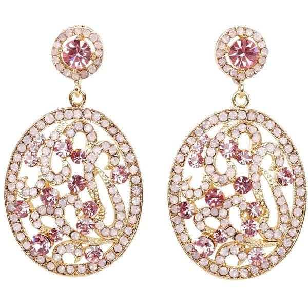 Talullah Tu Gia Oval Pink Crystal Earrings ($54) ❤ liked on Polyvore