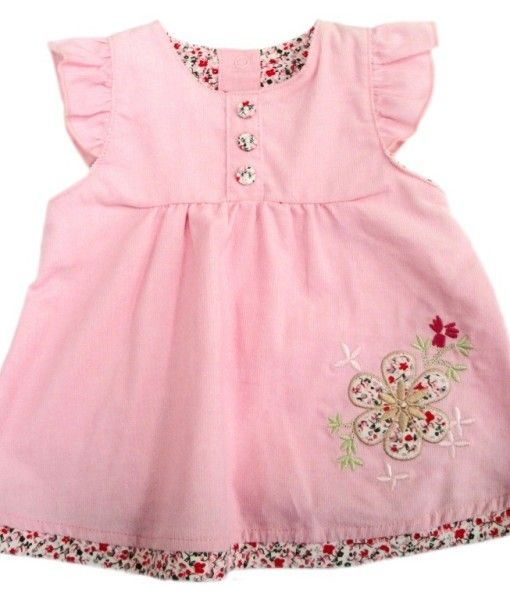 Pretty Pin Cord Pinafore style Dress.  Made from Cotton.  Available in sizes 3-6 months, 6-12 months, 12-18 months and 18-24 months.