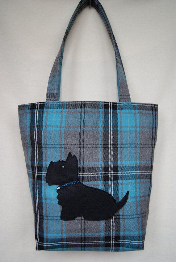 Scottie Dog Tartan Tote Bag  Blue/Black by TochasWorld on Etsy, £25.00