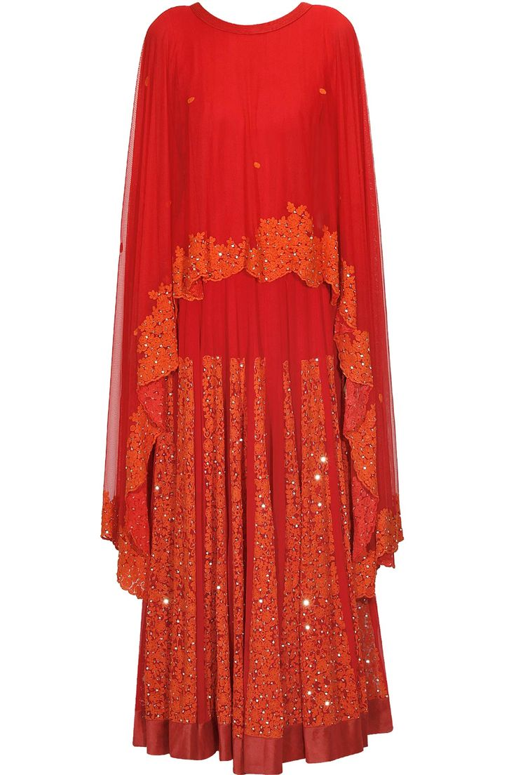 Red floral zardozi and sequins embroidered cape anarkali set available only at Pernia's Pop Up Shop.