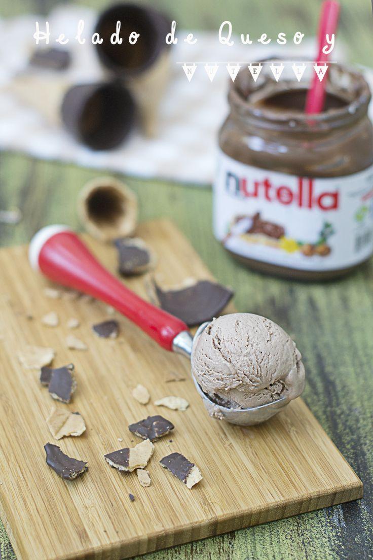 Cheese and Nutella icecream - Helado de queso y nutella #elasaltablogs