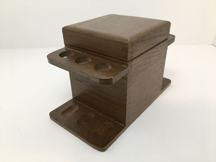 Vintage Wood Tobacco Smoking 6 Pipe Rack Stand With Humidor Dovetailed Edges