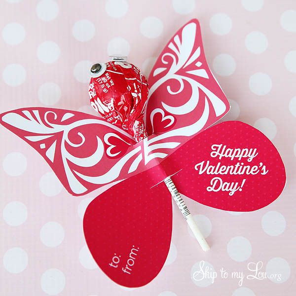 Free Printable Butterfly Valentine. Simply print, add your sucker or blow pop and you're set with this Valentine's Day gift idea