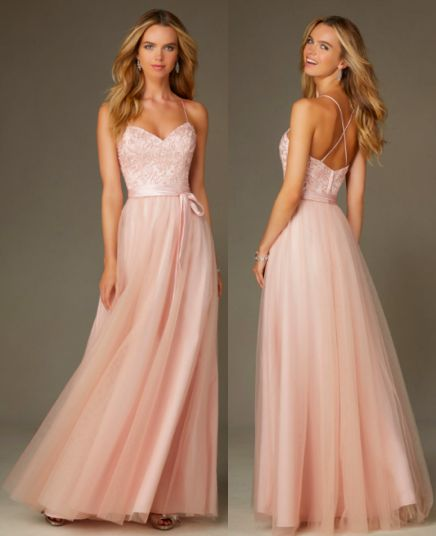 Ballerina Style Long Morilee Bridesmaid Dress in Tulle Blush Pink with Embroidery, Beading, and X Back. Style 132. Available in 11 colors.