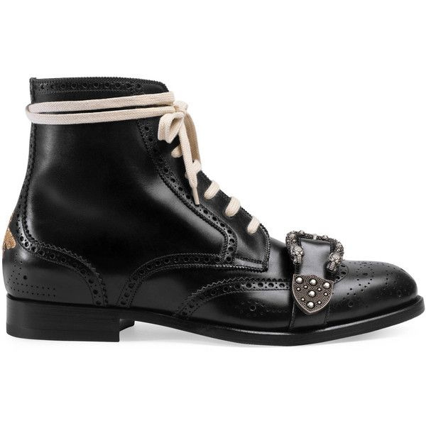 Gucci Queercore Brogue Boot (21.016.910 IDR) ❤ liked on Polyvore featuring men's fashion, men's shoes, men's boots, boots, shoes, footwear, men, mens black boots, mens black shoes and mens leather shoes