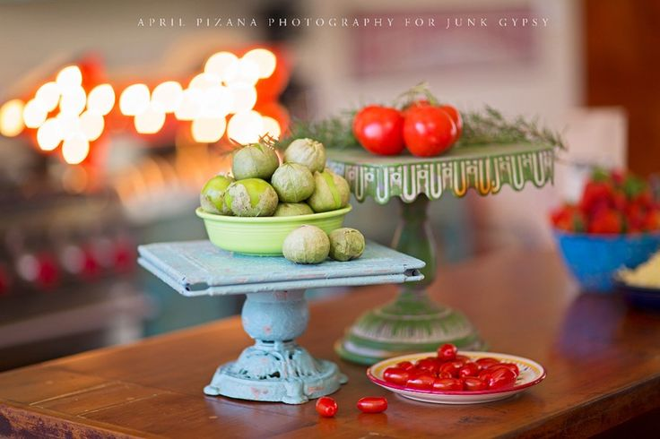 """chippy peely"" turquoise cakestand {junk gypsy co}"