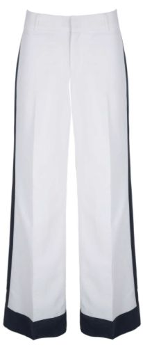 "These Banana Republic bottoms are white-haute: ""This style has a sleek vertical color block and great drape to the fabric that is especially slimming,"" says Melloney Birkett, Banana Republic's vice president of women's design; $89.50 at select Banana Republic stores. (Credit: Banana Republic)"