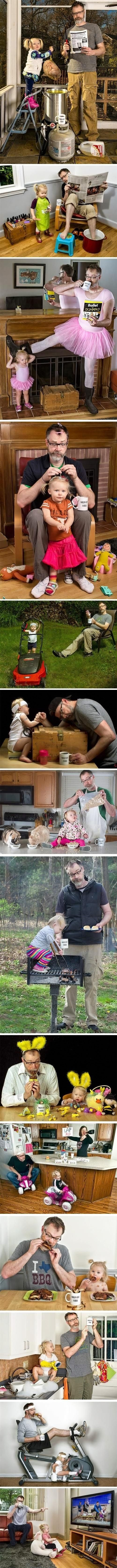 """When his daughter was a baby, Dave Engledow took a funny photo of himself holding her like a football while squirting her bottle of milk into his """"World's Best Father"""" coffee mug. It was meant as a joke, but the photo got such a positive reaction that it became a regular hobby and an internet sensation… not to mention, a great father-daughter bonding experience! Awesome."""