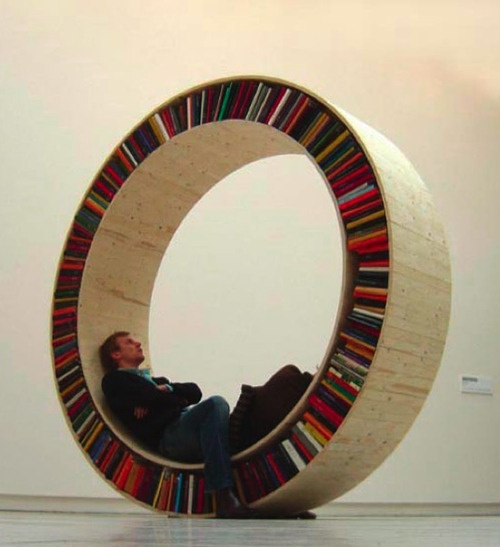Awesome Circular Walking Bookshelf By David Garcia Titled Archive Series.