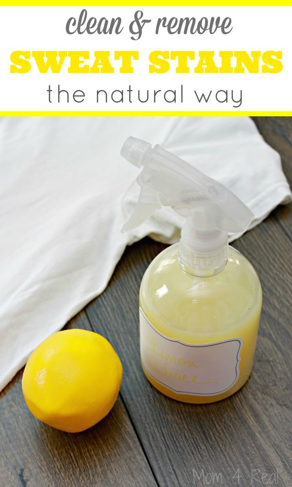 Clean and remove sweat stains naturally with a common household item. This cleaning hack will have you making a run for your refrigerator and save your white t-shirts from yellow under arm stains for good! via @Mom4Real