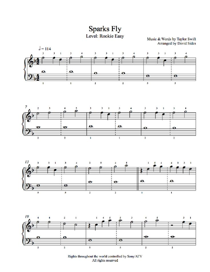 Sparks Fly by Taylor Swift Piano Sheet Music | Rookie Level