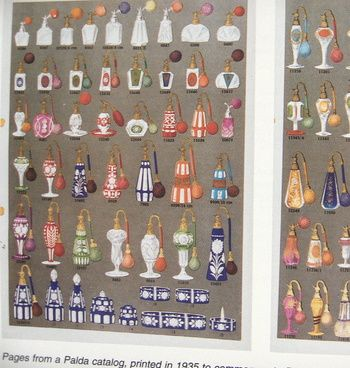 PALDA catalogue page, 1935, in book BOHEMIAN GLASS 1915-1945, mostly decanters and perfume bottles