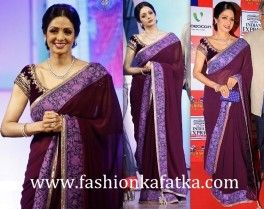 Sridevi Style #PurpleSaree At TV9 National Film Awards is a plain purple designer georgette saree to grant you an adorable personality in all events at cheaper rat