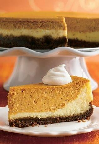 Classic vanilla cheesecake joins forces with pumpkin pie in this 2-for-1 Thanksgiving dessert. (If you're making dessert for a crowd, note that this recipe serves 16!) A gingersnap cookie-crumb crust takes it to the next level! To make sure your cheesecake comes out smooth, make sure your oven temp is correct, watch your bake time carefully, and beat the cream cheese mixture just until smooth.