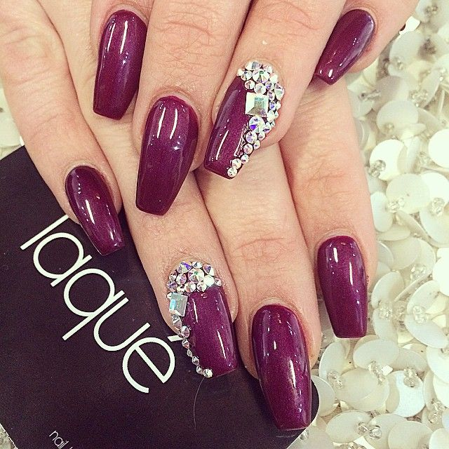 laquenailbar's photo on Instagram royal purple and bling coffin nails