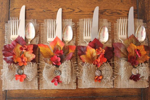 Burlap and fall leaves add the perfect seasonal touch for a Thanksgiving dinner party.