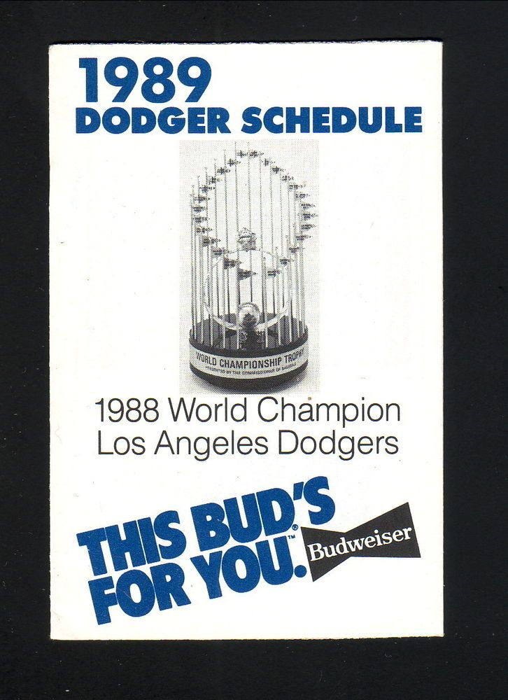 1989 Los Angeles Dodgers Schedule--World Series Trophy--Budweiser #Pocket