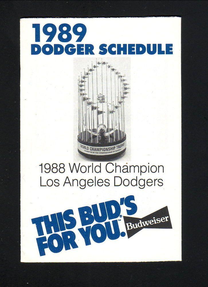 1989 Los Angeles Dodgers Schedule--World Series Trophy--Budweiser #Pocket