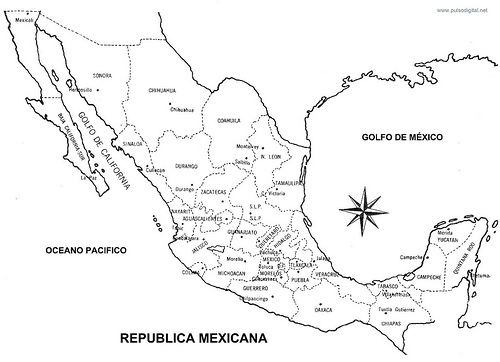 Mapa de la Republica Mexicana con nombres y división política