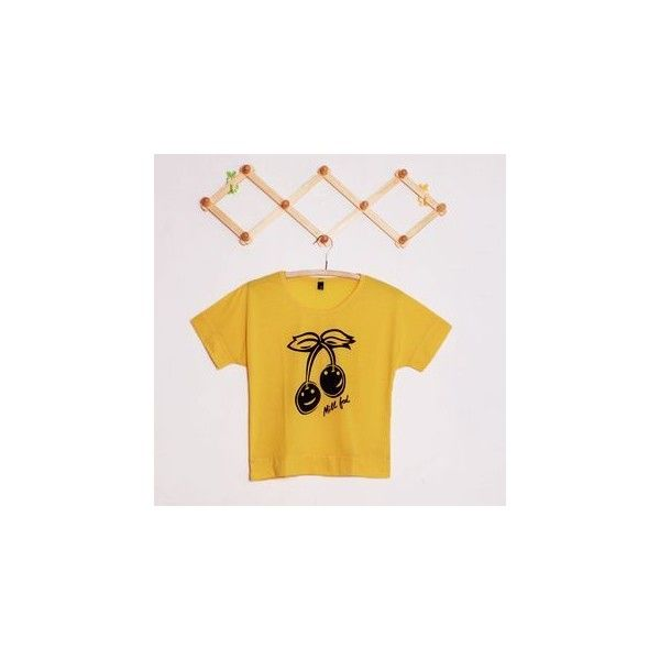 Printed Batwing Short-Sleeve T-shirt (150 ZAR) ❤ liked on Polyvore featuring tops, t-shirts, tees, women, short sleeve tops, batwing top, yellow tee, yellow top and yellow t shirt