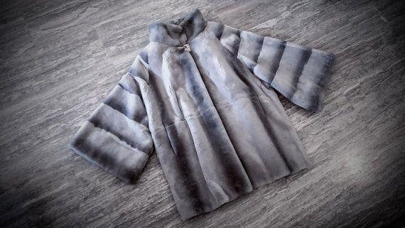 Fur coat/ Real Rex fur/ Grey full skinned fur jacket