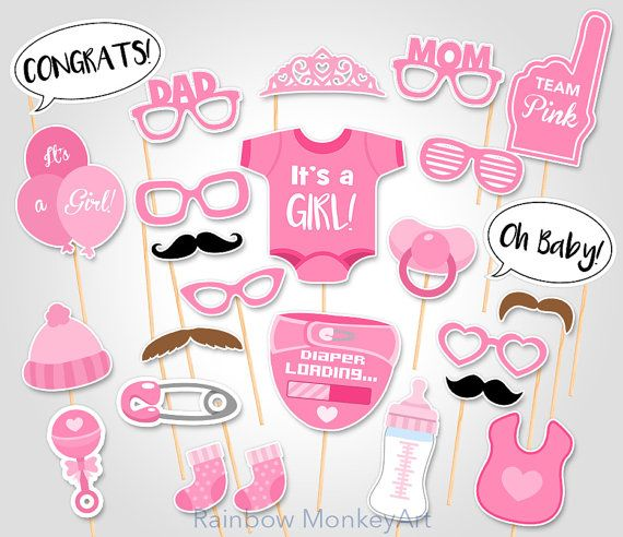 Attractive Baby Shower Photo Props   Itu0027s A Girl Baby PhotoBooth Props   Printable  Photobooth Props   Team Pink Baby Girl Printable Photobooth Props