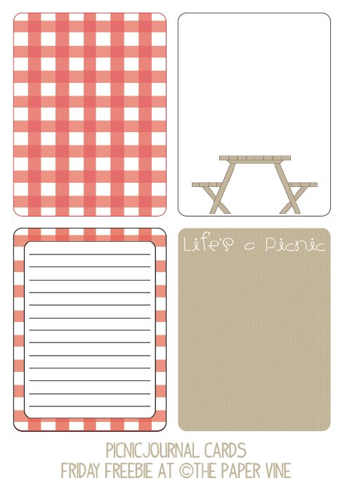 Free Project Life / Friday Freebie: Picnic Journal Cards