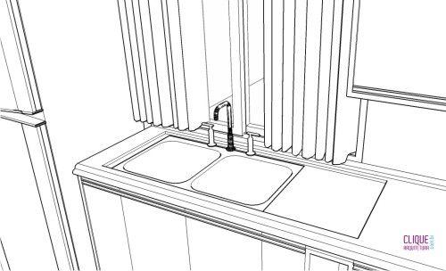 Bancadas de Cozinha - Clique Arquitetura Área molhada: espaço próximo da pia delimitado pela guarnição. É nele que normalmente apoiamos a louça que será lavada ou que está escorrendo/secando; Guarnição: é um arremate criado nas bordas da pia, na área molhada, impedindo o escoamento da água. Geralmente possui 2cm de profundidade;