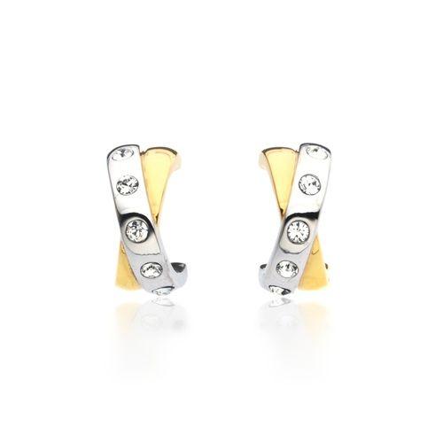 Crystal Studded Twist Hoop Earrings in Dual Tone