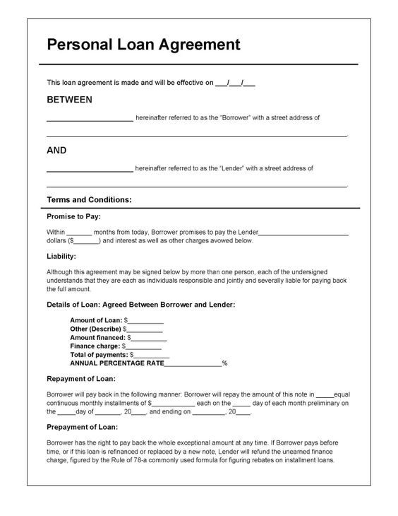 Download Personal Loan Agreement Template | PDF | RTF | Word (.doc) wikiDownload | legal doc ...