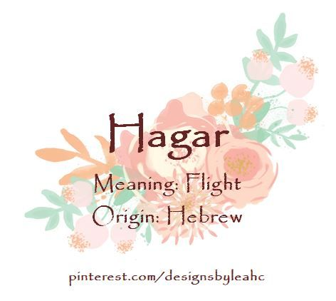 Baby Girl Name: Hagar. Meaning: Flight. Origin: Hebrew.