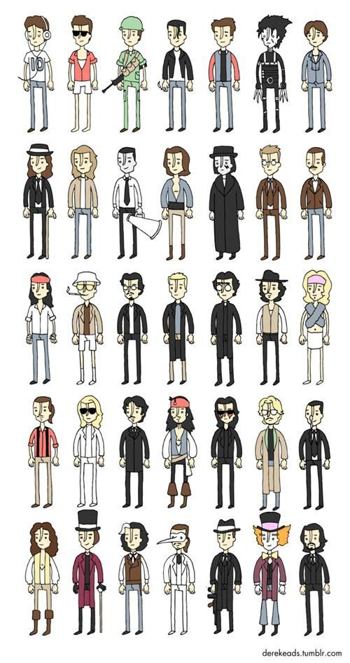 Johnny Depp cartoon characters from every movie he was in except for Dark Shadows....pretty neat!