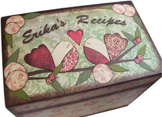 Recipe Box 4x6   MADE To ORDER  Decoupaged   by GiftsAndTalents, $28.00