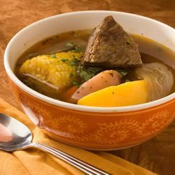 Cazuela de Vaca (Beef and Pumpkin Stew) - This hearty Chilean stew of beef, corn, and pumpkin is a one dish meal. The main ingredients are stewed in serving-sized pieces, so that each person receives a large piece surrounded by a broth with the other vegetables. Read more at http://99foods.com/recipes/Cazuela-de-Vaca-Beef-and-Pumpkin-Stew-84684