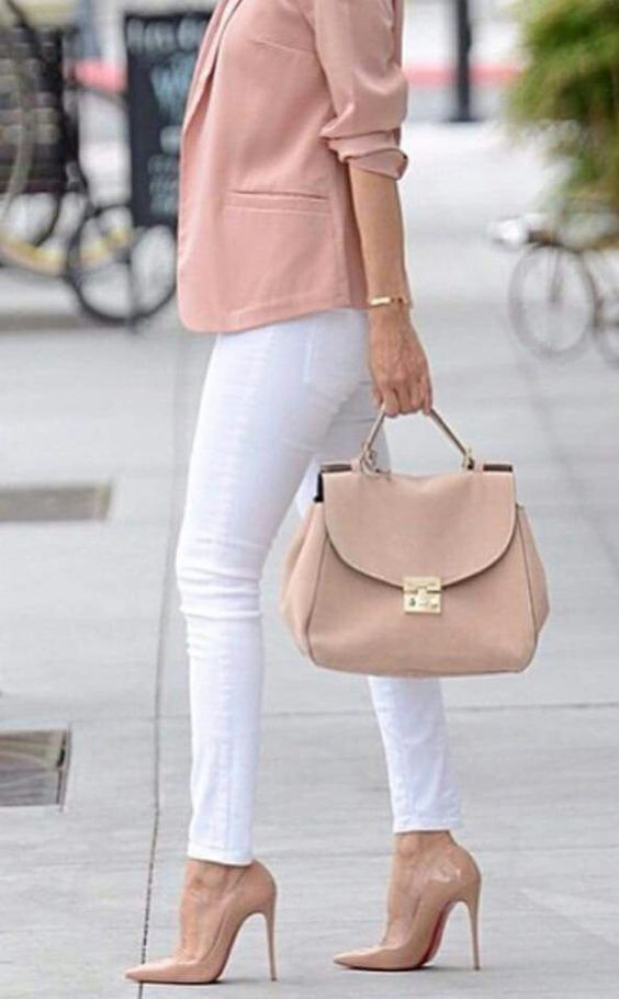 Pink Blazer with white jeans!