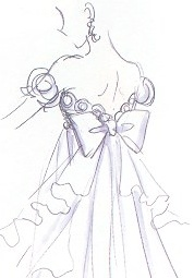 "Back of Princess Serenity's gown from artist Naoko Takeuchi's anime & manga series ""Sailor Moon."" The dress has cascading ruffles & large bow."