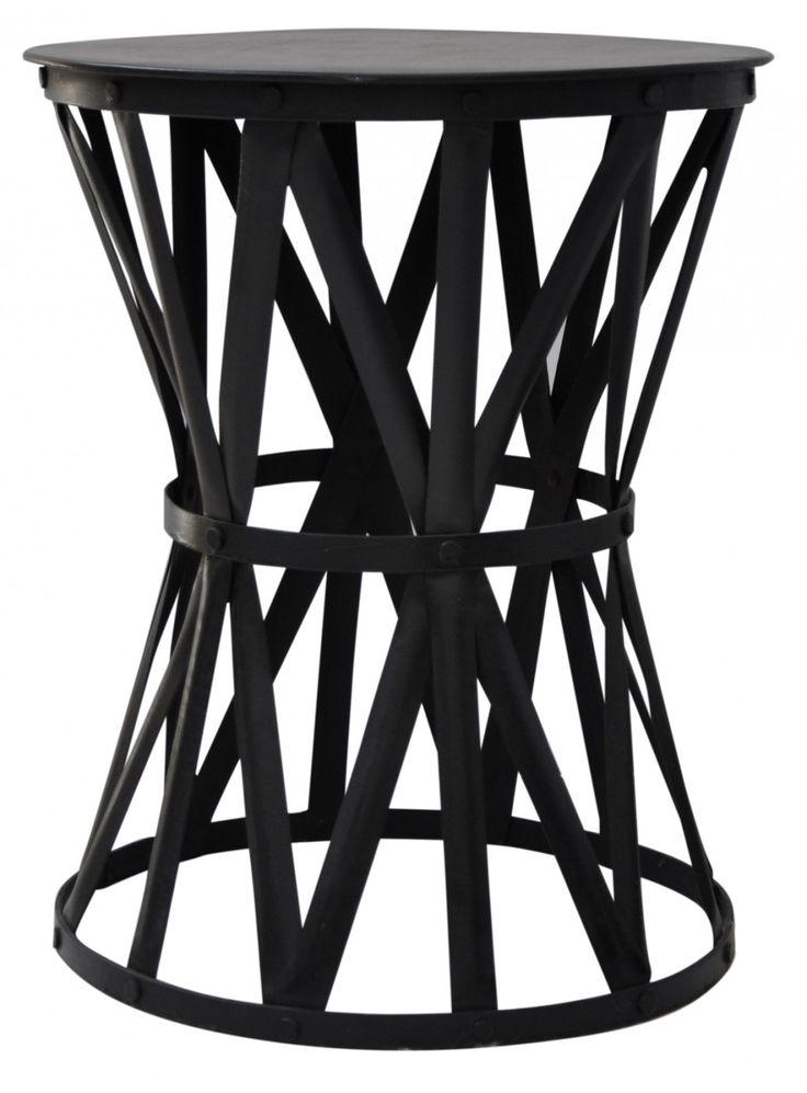 Marvelous Black Iron Drum Table