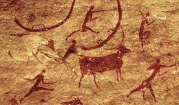 Sección de la pintura de rock-wall, Tassili-n-Ajjer, ca. 5000-2000 aC. Creado por adicción