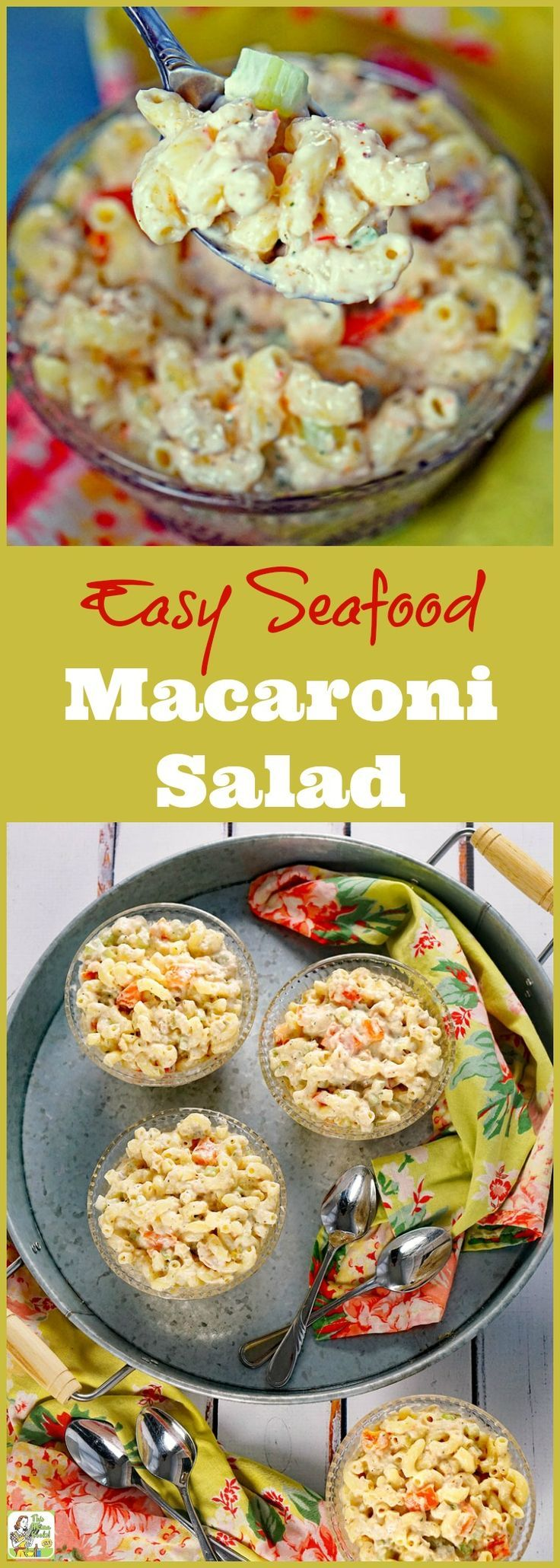 Need the perfect Easy Seafood Macaroni Salad for your brunch or barbecue party? Click to gThis easy pasta salad recipe contains baby shrimp, bell peppers, dill, seafood seasoning blend, and lite mayonnaise. It can be made with gluten free or whole wheat macaroni, too!
