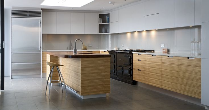 Bespoke kitchen lacquer and quarter sawn olive ash.  Designed and made by Artichoke www.artichoke-ltd.com
