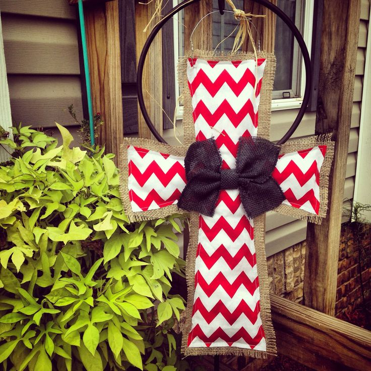 Red Chevron & Black Burlap Cross Door Hanger by clrich on Etsy https://www.etsy.com/listing/242900861/red-chevron-black-burlap-cross-door