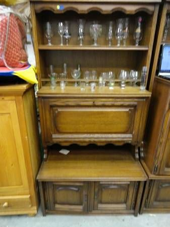 For sale vintage wood china cabinets wine rack storage for Upper cabinets for sale