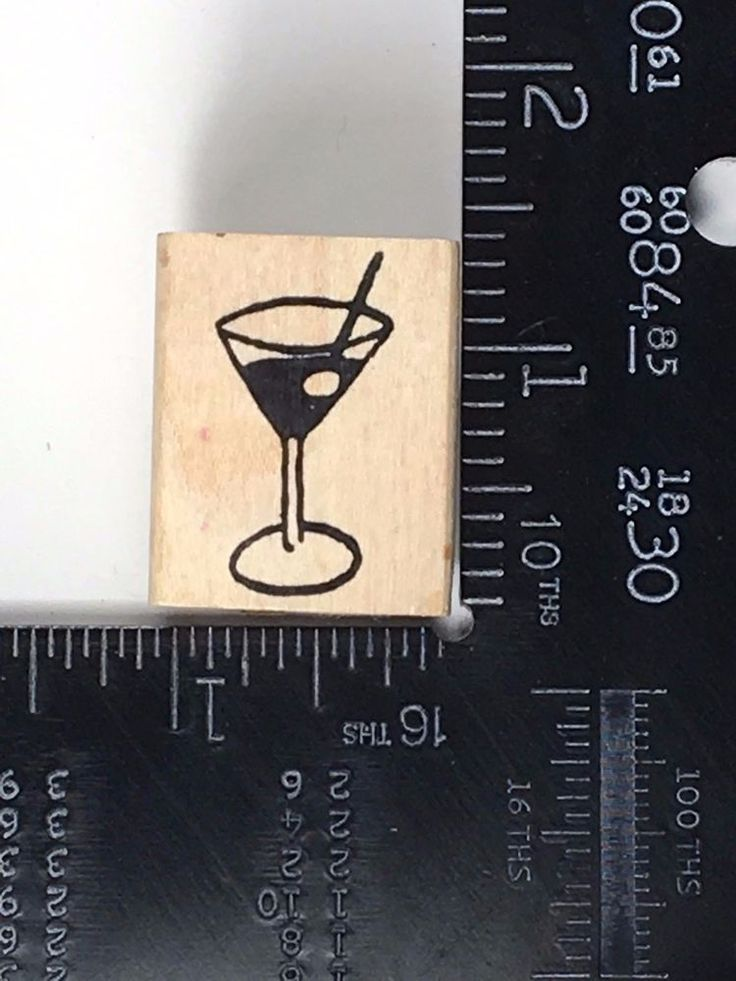 Martini Rubber Stamp Cocktail Drink Olive Party Wine Diva HTF #W07 #Unbranded